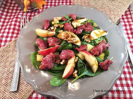 Salade sucrée-salée d'épinards aux gésiers de canard confit - Dans la cuisine d'Hilary