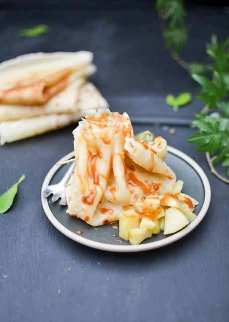 Aumônières de crêpes aux pommes caramélisées