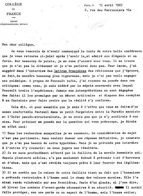 Claude Lévi-Strauss écrit à Roger Garaudy