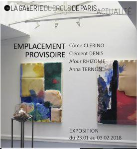 Galerie du CROUS Paris « Emplacement Provisoire »  nocturne le 1er Février 2018