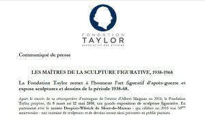 Fondation Taylor « Les Maitres de la Sculpture Figurative 1938-1968 du 8 Mars au 12 Mai 2018 a
