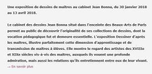 E N S B A  Beaux-Arts de Paris  « Dessins de maîtres » Cabinet Jean Bonna 30 Janvier au 13 Avril 2018