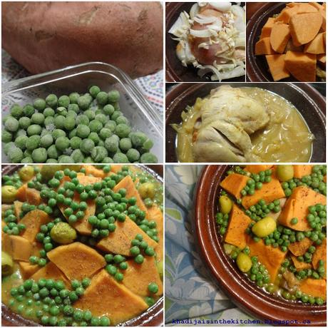TAGINE DE POULET AUX PATATES DOUCES ET PETITS POIS / CHICKEN TAGINE WITH SWEET POTATOES AND SMALL PEAS / TAGINE DE POLLO CON BATATAS Y GUISANTES / طاجين الدجاج و البطاطا الحلوة و الجلبانة(البازلاء)