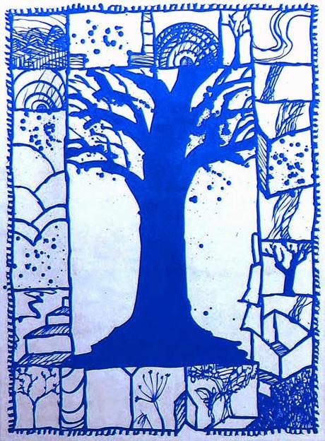 Pierre Alechinsky, Arbre bleu, 2000