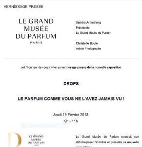 Le Grand Musée du Parfum  « Drops » Février 2018