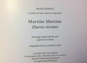 Galerie Nicolas Deman  exposition Martine Martine « œuvres récentes » 6/24 Février 2018