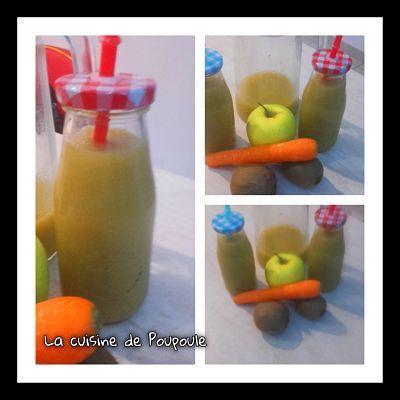 Jus de fruits Kiwi, pommes et carottes au thermomix ou sans