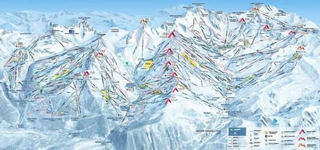 Le plan des pistes des 3 Vallées