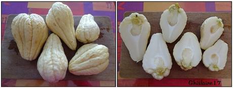 Gratin de chayote (christophine, chouchou ...) et lardons au curcuma et lait de coco
