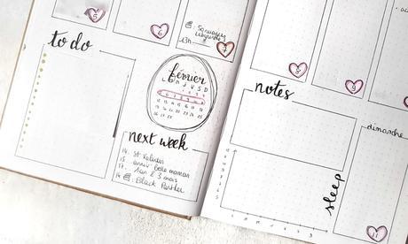 Bullet journal #2  Février rempli d'amour