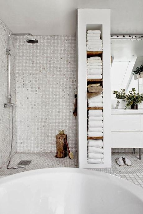 douche italienne salle bain nature blanche beige bois orientale