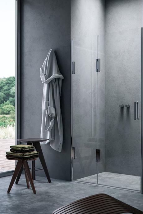 douche italienne plain-pied béton ciré minimaliste-grise