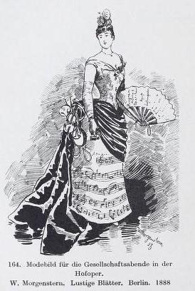 Mode wagnérienne: modèle de robe pour une soirée au  Théâtre de la Cour