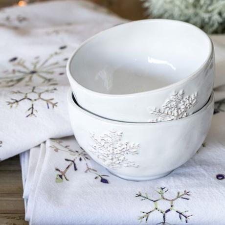 bol deco flocon de neige motif porcelaine