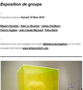 Galerie Lélia Mordoch  Exposition de groupe  jusqu'au 10 Mars 2018