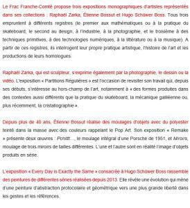 FRAC Franche-Comté  Raphael Zarka-Etienne Bossut Hugo Schûwer Boss – jusqu'au 20 Mai 2018