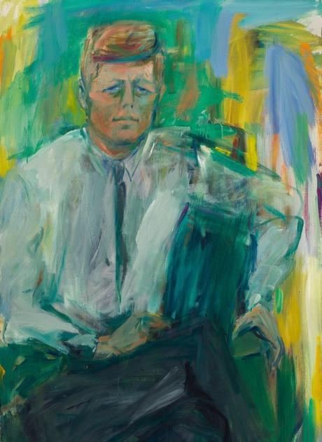 John F. Kennedy (Elaine de Kooning) ; William J. Clinton (Chuck Clos)