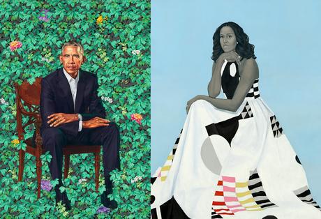 Barack Obama (Kehinde Wiley) ; Michelle LaVaughn Robinson Obama (Amy Sherald)