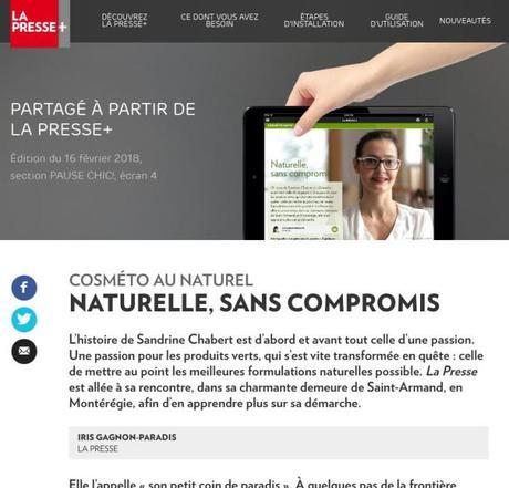 Naturelle, sans compromis La Presse 16 février 2018 par Iris Gagnon-Paradis