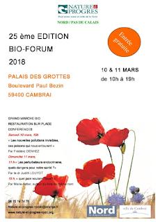 Bio-Forum 25 éme édition à Cambrai les 10 et 11 mars 2018