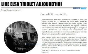 Maison ARAGON TRIOLET  « Lire Elsa Triolet aujourd'hui » le 10 Mars