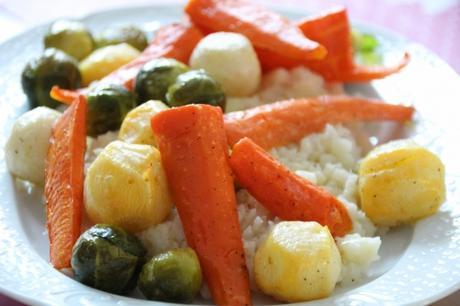 carotte, navet, céleri, choux de Bruxelles