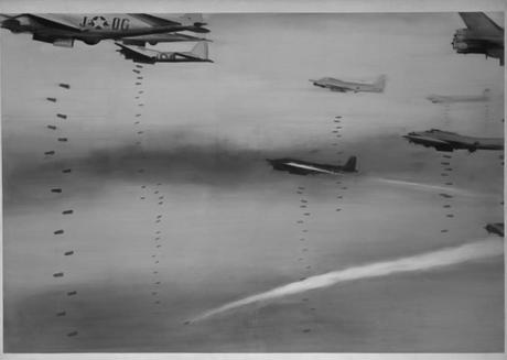 gerhard-richter,airplanes,painting,photo-realism,bomb,war