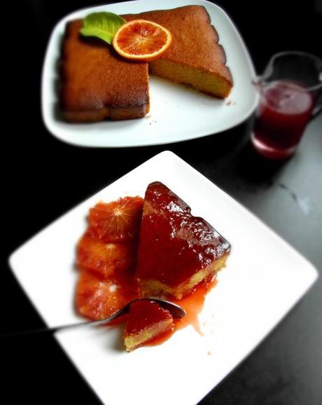 Gâteau à l'orange sanguine et polenta ( sans gluten et sans lactose)