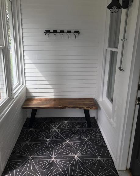 carreaux de ciment pas cher moderne hexagone noir blanc terrasse