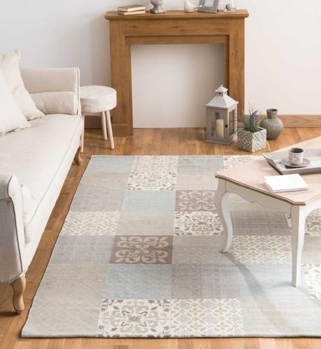 imitation carreaux de ciment pas cher tapis taupe bleu