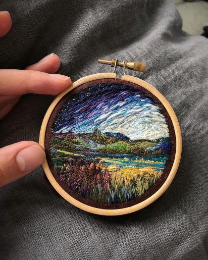 Broderie de paysages par Vera Shimunia