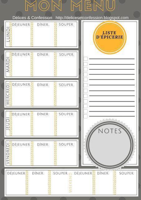 Un menu à imprimer pour planifier vos repas !