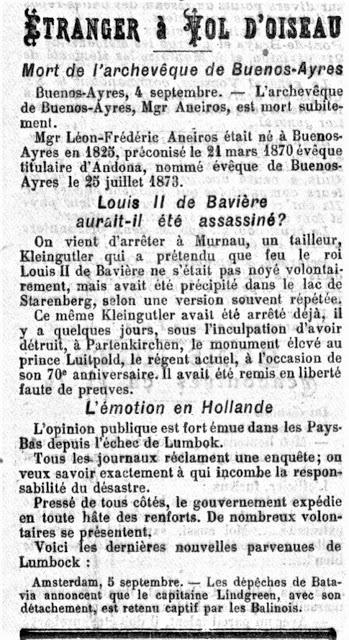 1894. Profanation d'un monument au Prince Régent. Le tailleur Kleingutler arrêté à Murnau.