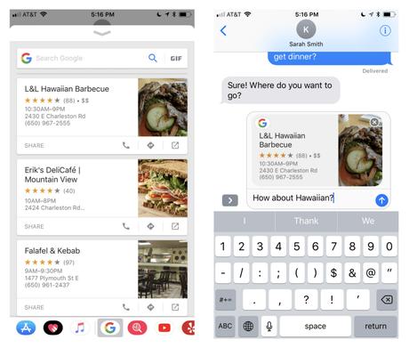 Google intègre son moteur de recherche sur iMessage.