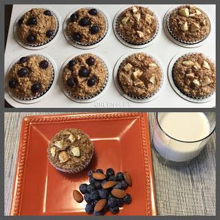 Muffins à l'amande, avoine et fruits  - IG Bas
