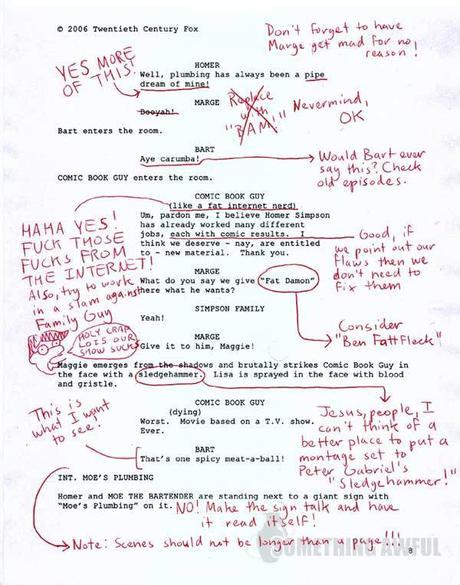 Le scénario annoté d'un épisode des Simpsons