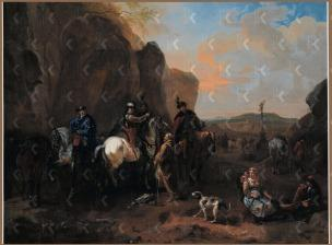 Dirk Maas Landscape with cossacks asking directions from a monk private collection 1674 - 1717