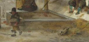 Avercamp Scene on the Ice near a Brewery, about 1615, oil on panel, The National Gallery, London detail