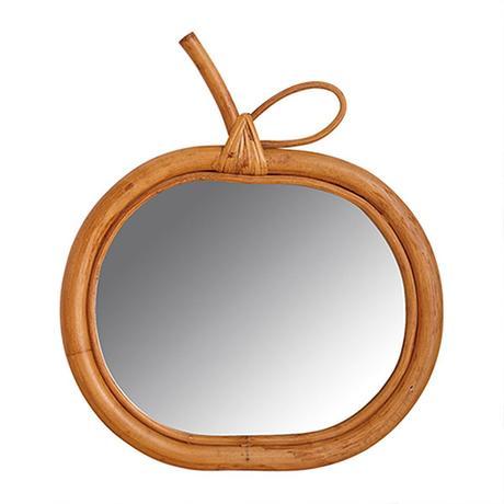Miroir pomme en rotin naturel