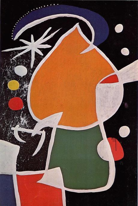 Joan Miró, Femme dans la nuit, 1974, huile sur toile