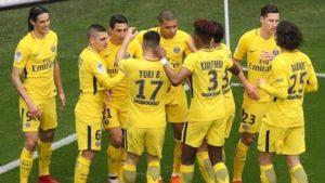 La joie des joueurs du PSG après leur victoire 2 buts à 1 à Nice