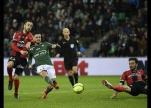 Cabella qui inscrit le 2ème but des verts face à Guingamp