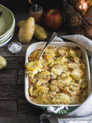 Recette bio : Gratin de pommes de terre au munster bio Bonneterre