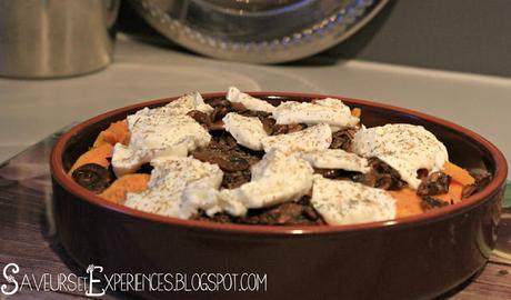 Gratin de Patate Douce, Champignons et Mozzarella
