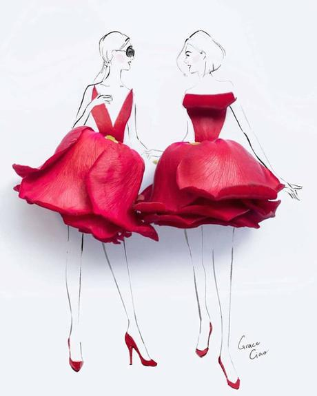 Cette artiste mêle dessin, aquarelle et véritables fleurs pour réaliser des illustrations de mode