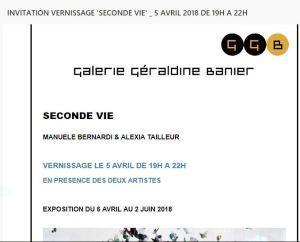 Galerie Géraldine BANIER  une exposition : « SECONDE VIE »  6 Avril au 2 Juin 2018