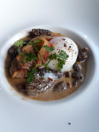 Morilles, œuf, lard © Gourmets&co