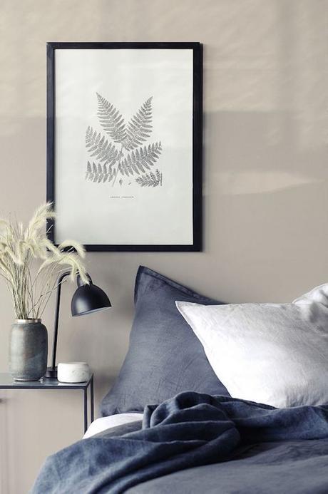 chambre couleur lin peinture mur deco affiche feuille bruyere