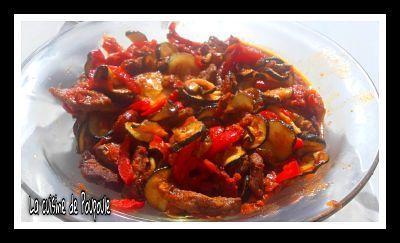 Boeuf aux poivrons, courgettes et chorizo au épices cajun à l'actifry