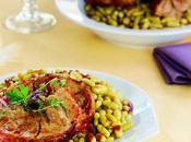 Agneau rôti épices accompagné flageolets verts gigot pâque